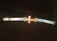 Blue leather with hammered gold cross snap bracelet- Quantity 2 202//143